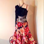 黒ベルベット×花柄フレアスカートラテンドレス