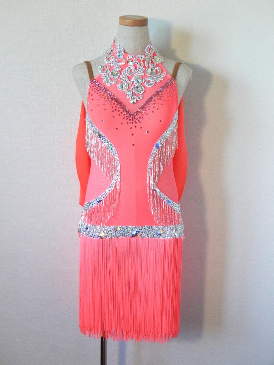 サーモンピンク、ジュニアサイズのラテンドレス