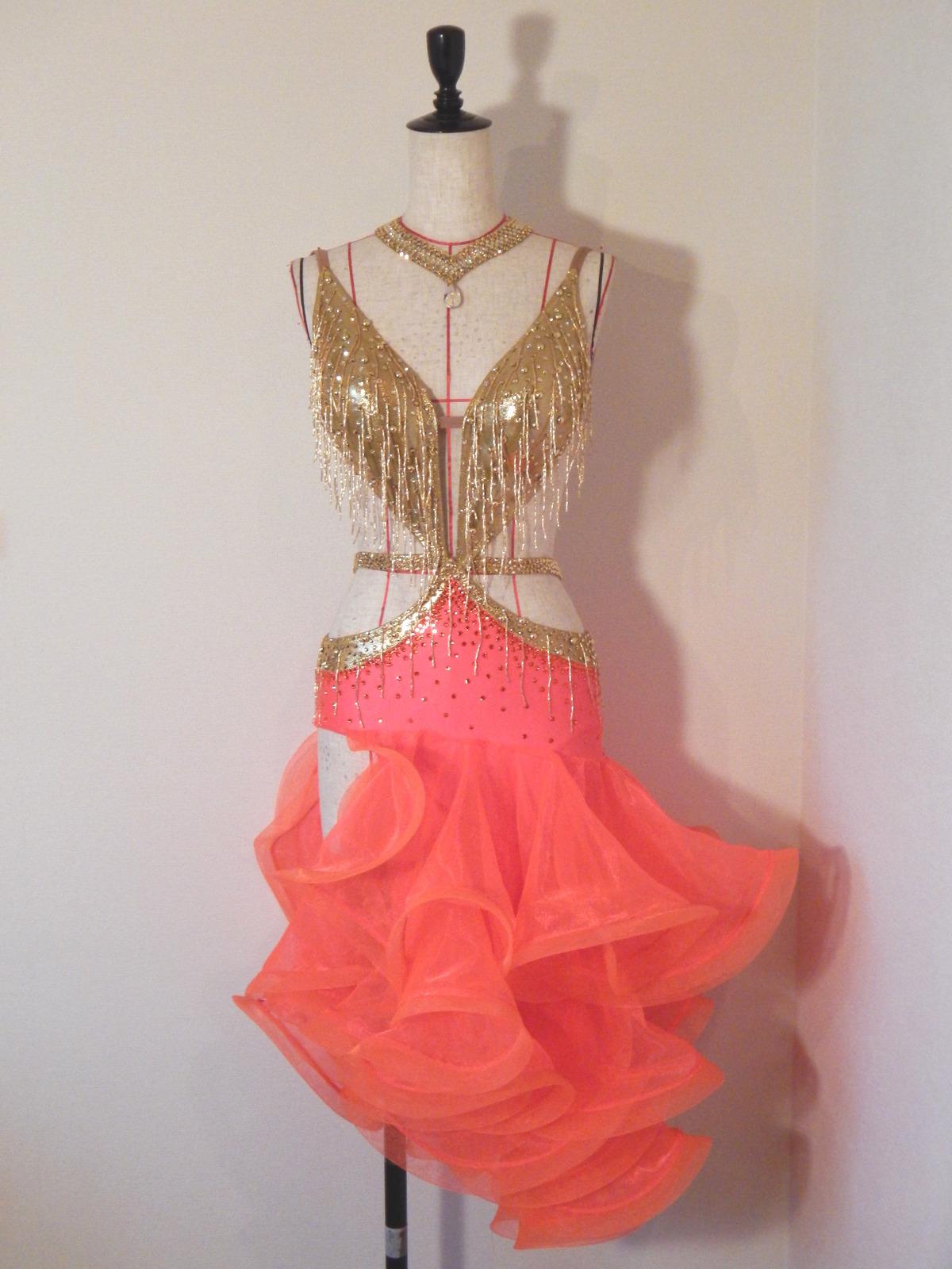 ゴールド竹ビーズ&オレンジスカートラテンドレス