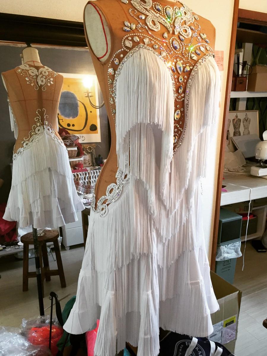ホワイトフリンジラテンドレス