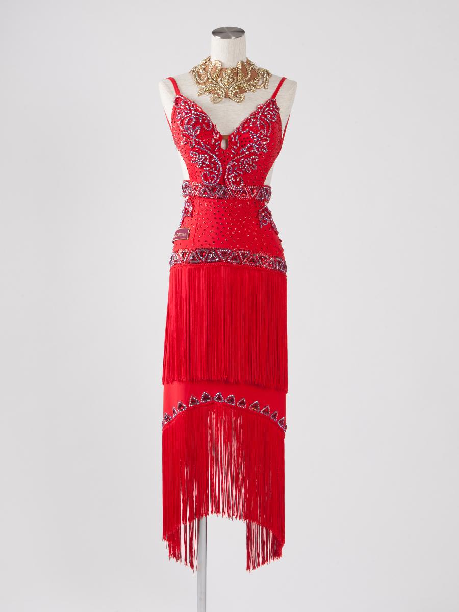 赤ロングフリンジラテンドレス
