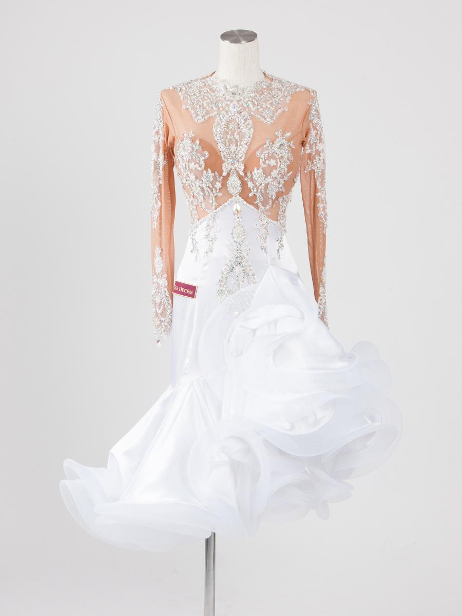 ホワイトレースラテンドレス
