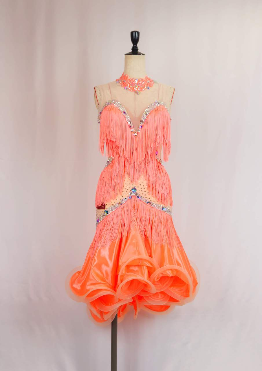コーラルフリンジラテンドレス