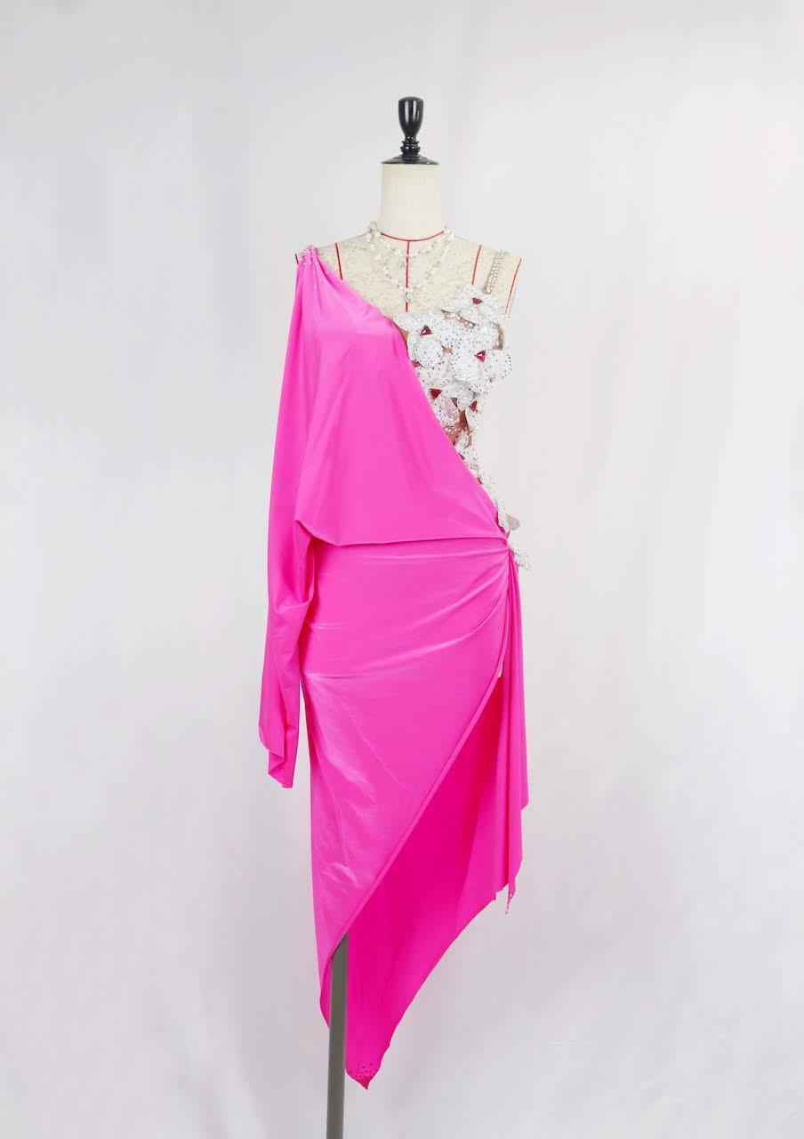 ピンク×お花ラテンドレス