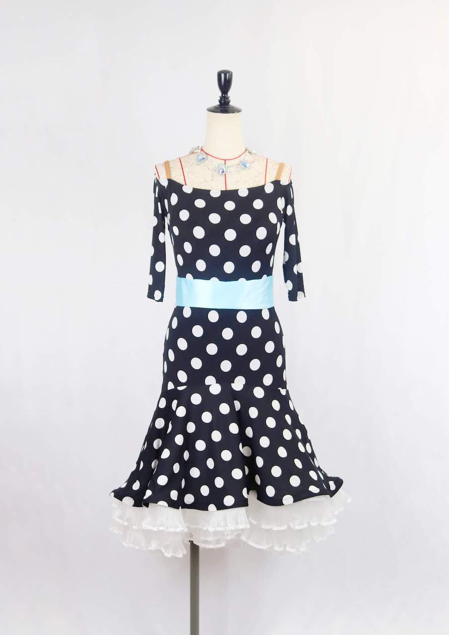 水玉×リボンラテンドレス