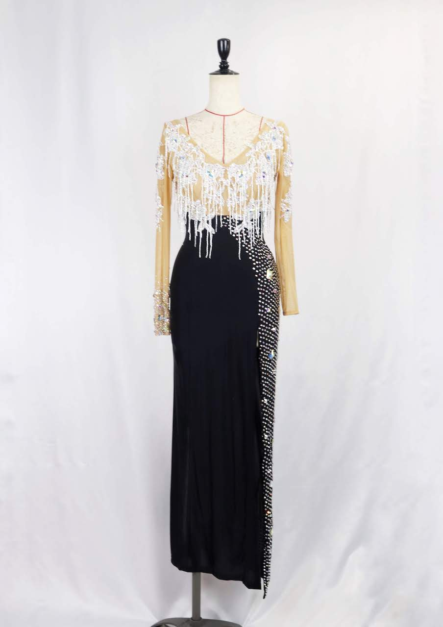 白黒ロングラテンドレス